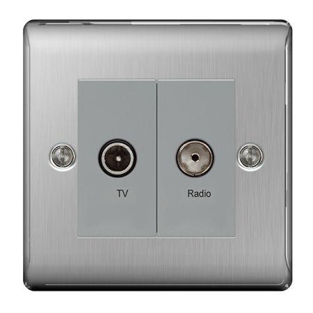 BG Nexus Metal Brushed Stainless Steel Diplex TV/FM Socket Outlet   NBS66