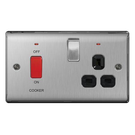BG Nexus Metal Brushed Stainless Steel 45A Cooker Switch & 13A Plug Socket Black Insert   NBS70B