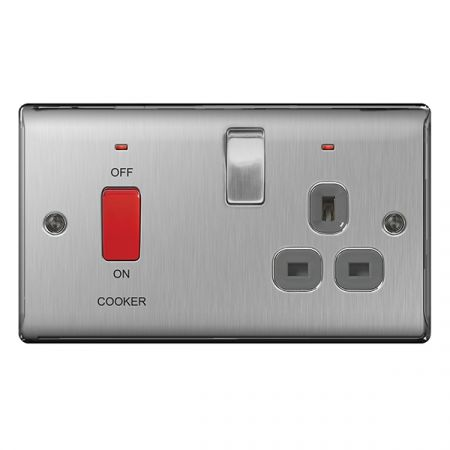 BG Nexus Metal Brushed Stainless Steel 45A Cooker Switch & 13A Plug Socket Grey Insert   NBS70G