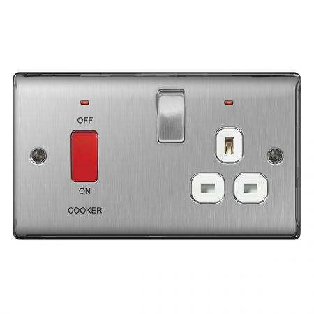 BG Nexus Metal Brushed Stainless Steel 45A Cooker Switch & 13A Plug Socket White Insert   NBS70W