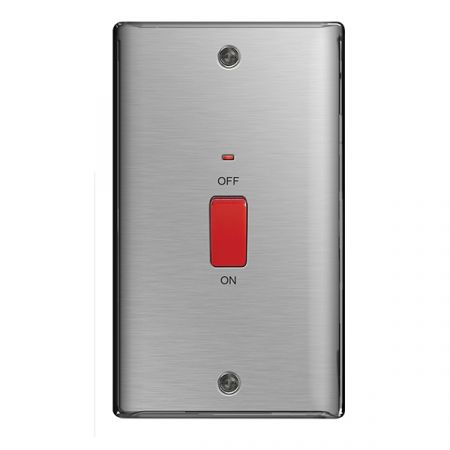 BG Nexus Metal Brushed Stainless Steel 45A Vertical Cooker Switch   NBS72