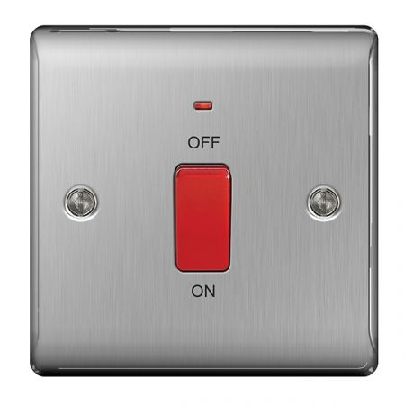 BG Nexus Metal Brushed Stainless Steel 45A Single Cooker Switch with Power Indicator   NBS74