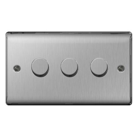 BG Nexus Metal Brushed Stainless Steel 3 Gang 2 Way Push Type 400W Dimmer Switch   NBS83P