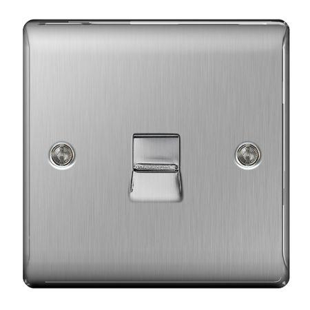 BG Nexus Metal Brushed Stainless Steel Single Telephone Master Socket | NBSBTM1