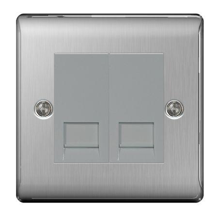 BG Nexus Metal Brushed Stainless Steel Double Telephone Master Socket | NBSBTM2