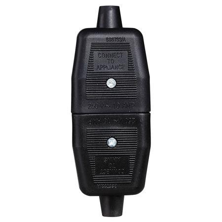 Masterplug Permaplug Heavy Duty Inline 2 Pin Connector Black | NC102B