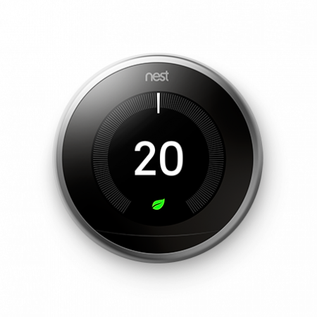 Google Nest Learning 3rd Generation Thermostat Stainless Steel | T3010GB