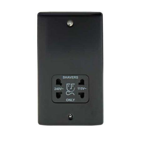 BG Nexus Metal Matt Black 115/230V Dual Voltage Shaver Socket   NMB20B