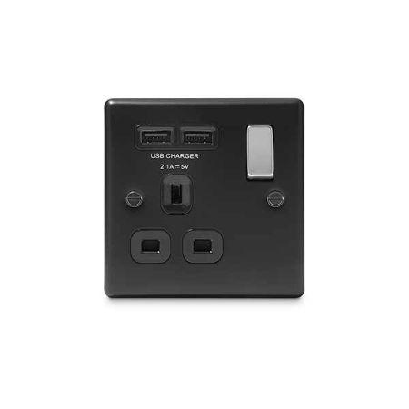 BG Nexus Metal 1 Gang 13A Matt Black Single Plug Socket + 2 USB (2.1A) | NMB21U2B