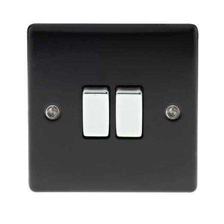 BG Nexus Metal 2 Gang 2 Way Matt Black Light Switch | NMB42