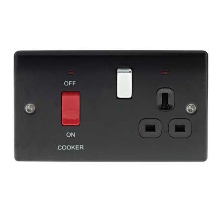 BG Nexus Metal Matt Black 45A Cooker Switch & 13A Plug Socket    NMB70B