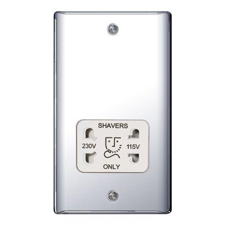 BG Nexus Metal Polished Chrome115/230V Dual Voltage Shaver Socket White Insert | NPC20W