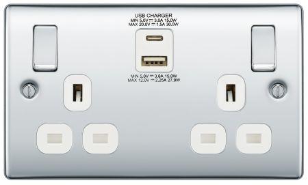 BG Nexus Polished Chrome 13A Socket with 30W Type A + C USB Grey Insert | NPC22UAC30W