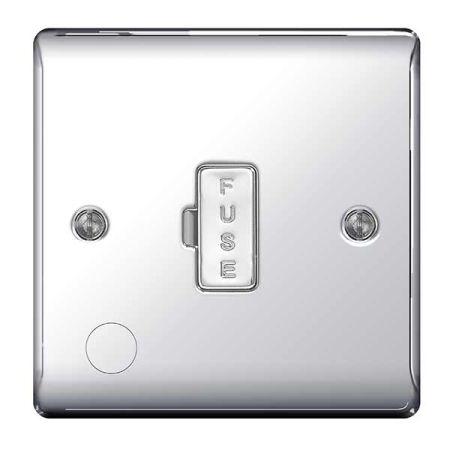 BG Nexus Metal Polished Chrome UnSwitched 13A Fused Connection Unit & Flex Outlet | NPC55