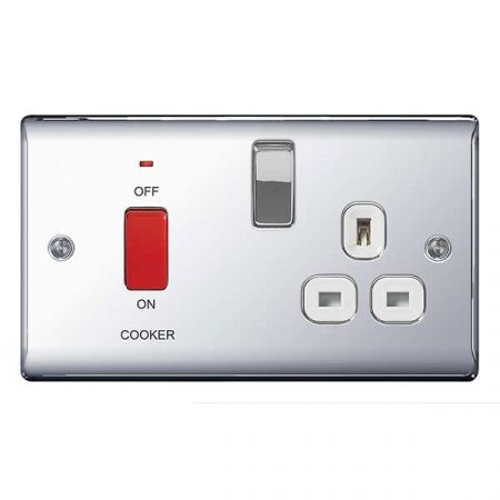BG Nexus Metal Polished Chrome 45A Cooker Switch & 13A Plug Socket White Insert | NPC70W