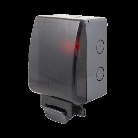 Click AQUIP66 1G Weatherproof IP66 Transparent Lid Outdoor Socket & Neon | OA835T