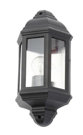 Coast Athena IP44 Half Wall Lantern 42w max Black   CZ-31748-BLK
