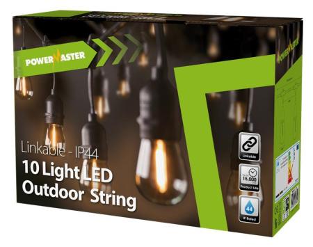Powermaster 10 Light filament LED IP44 Festoon String Lights | S17286