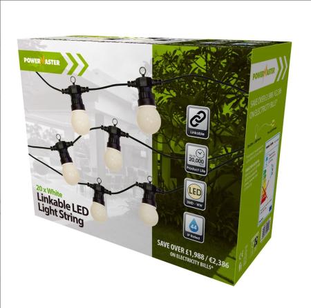 Powermaster 20 Light Large Globe LED IP44 Festoon String Lights | S9399
