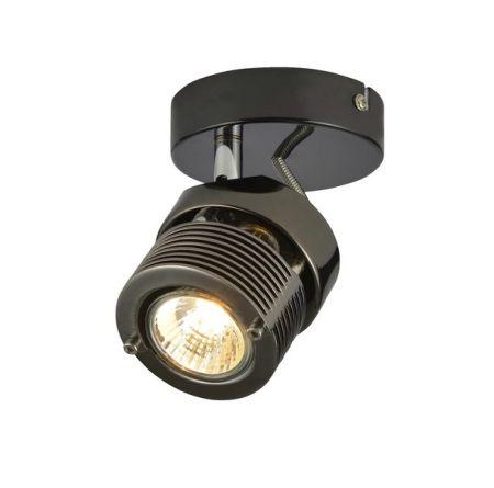 Inlight Pedro 1 Light GU10 Wall/Ceiling Spotlight Black Chrome