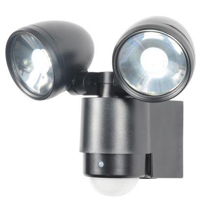 Zinc Sirocco 6w LED Twinspot PIR Floodlight Black
