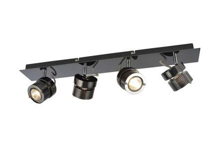 Inlight Pedro 4 Light Square Plate Spotlight GU10 Black Chrome