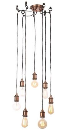 Inlight Padua 7 Light Ceiling Pendant Cable Set Antique Copper