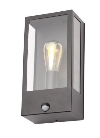 Zinc Minerva Exterior Box Lantern with PIR Black