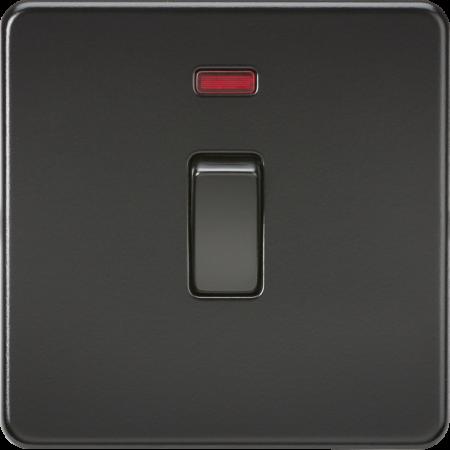 Knightsbridge Screwless 20A 1G Double Pole Light Switch with Neon Matt Black | SF8341NMBB