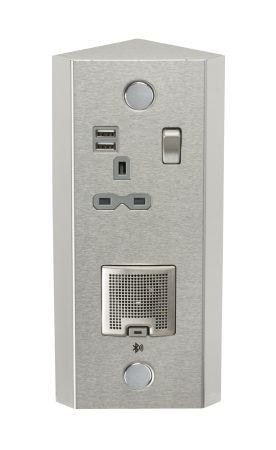 Knightsbridge Dual USB Vertical Socket with Bluetooth Speaker Stainless Steel | SKR0013
