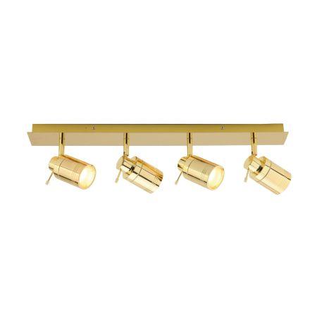 Spa Scorpius GU10 4 Light IP44 Bar Spotlight Polished Brass | SPA-22560-BRS