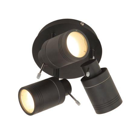 Spa Scorpius GU10 3 Light Plate Spotlight Matt Black   SPA-27405-MBLK