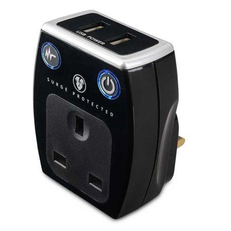 Masterplug High Gloss USB Surge Protected Adaptor White   SRGAUSBPB3