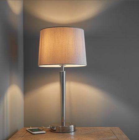 Endon Lighting Syon 40w USB Table Lamp with Mink Silk Shade 72175
