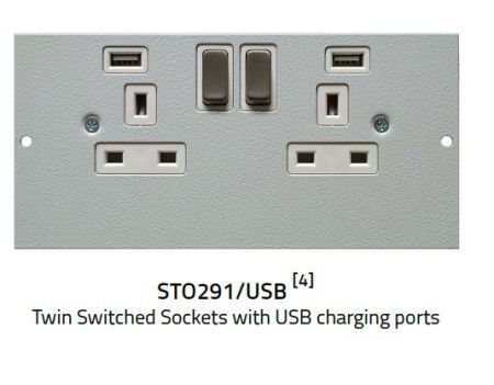 Tass STO291/USB Twin Switched Sockets with USB charging ports