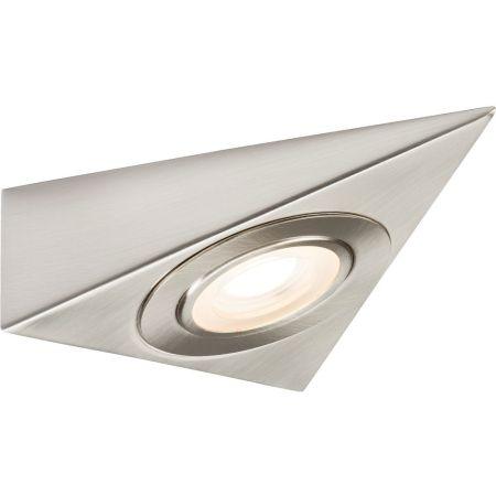 Knightsbridge TRIBCCW Triangular 230V LED Under Cabinet Light Brushed Chrome 4000K Cool White