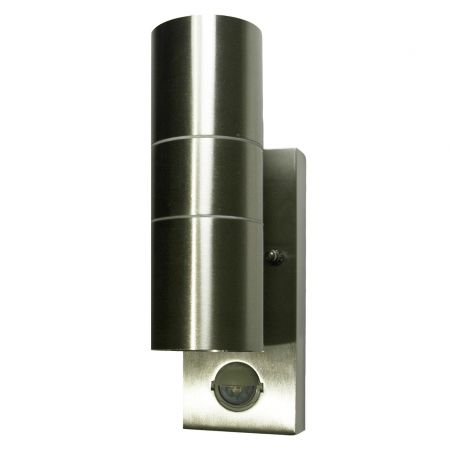 Hispec Up and Down Wall Light with PIR Sensor Stainless Steel Finish HSLEDUL/PIR