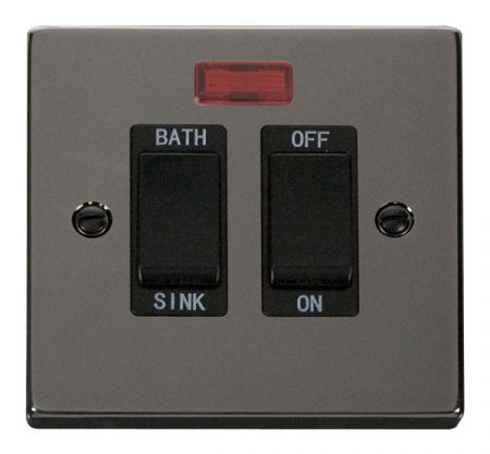 Click Deco Black Nickel 20A DP Sink & Bath Switch With Neon Black Insert VPBN024BK