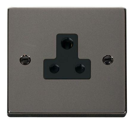 Click Deco Black Nickel 5A Round Pin Single Socket Black Insert VPBN038BK