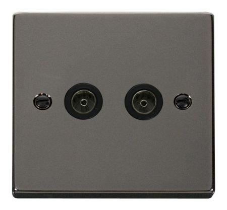 Click Deco Black Nickel Twin Coaxial TV Socket Black Insert VPBN066BK