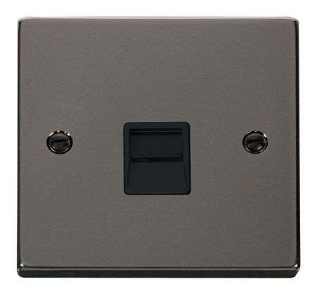 Click Deco Black Nickel Single Telephone Master Socket Black Insert VPBN120BK