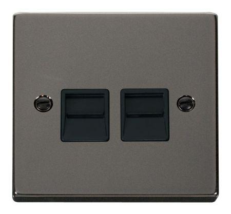 Click Deco Black Nickel Twin Telephone Master Socket Black Insert VPBN121BK