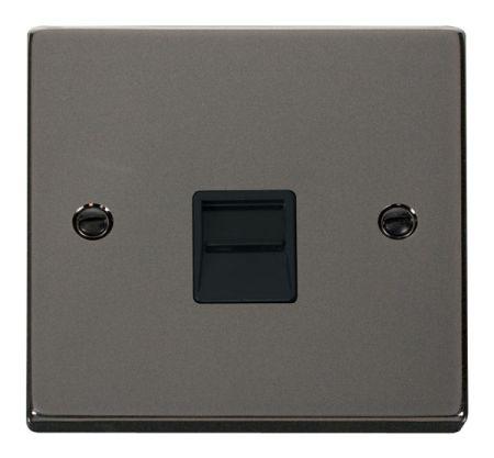 Click Deco Black Nickel Single Telephone Secondary Socket Black Insert VPBN125BK