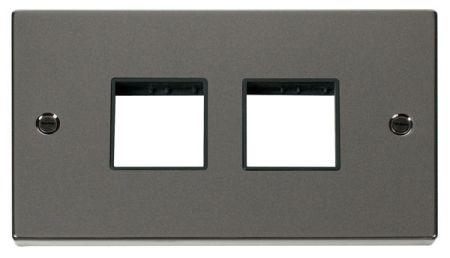 Click Deco (2+2) Aperture Black Nickel Unfurnished Plate Black Insert VPBN404BK