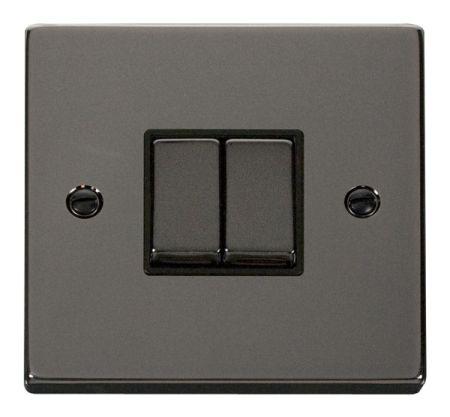 Click Deco Ingot Black Nickel 2 Gang Light Switch Black Insert VPBN412BK