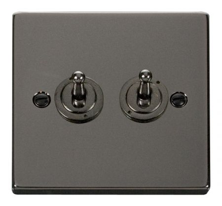 Click Deco Black Nickel 2 Gang 10A Toggle Switch VPBN422