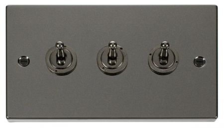 Click Deco Black Nickel 3 Gang 10A Toggle Switch VPBN423