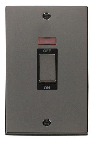 Click Deco Ingot Black Nickel 45a DP Double Cooker Switch & Neon Black Insert VPBN503BK