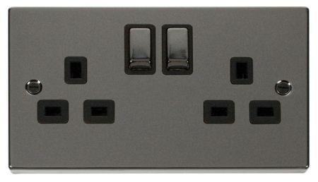 Click Deco Ingot Black Nickel 13A Double Socket Black Insert VPBN536BK