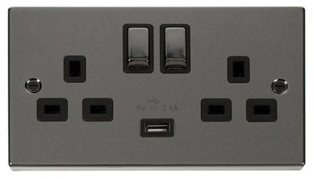Click Deco Ingot Black Nickel 13a Double Socket With USB Black Insert VPBN570BK